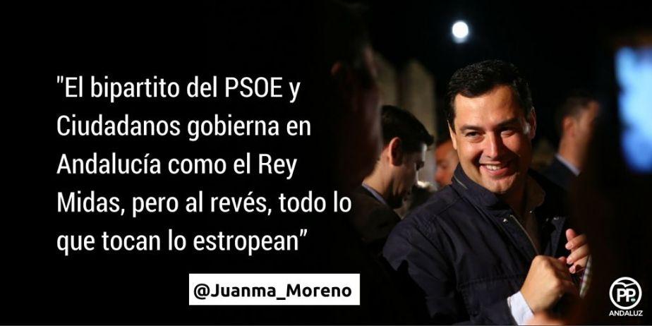 """🔴 @Juanma_Moreno """"El bipartito @Psoe y @CiudadanosCs gobierna como el Rey Midas, pero al revés, todo lo que tocan lo estropean"""""""